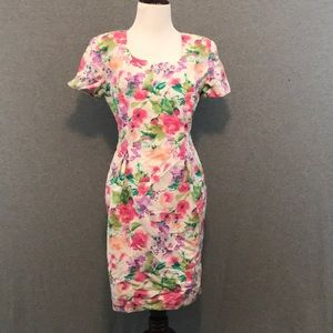 Vintage Maggy London Cotton Linen Floral Dress